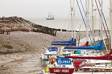 A sailing ship off Porlock Weir on the Somerset Coast, England, United Kingdom, Europe
