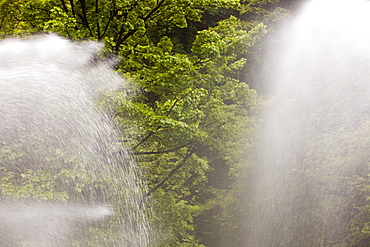 Water spouts below the largest privately owned HEP scheme in England and Wales, in Glen Lyn Gorge in Devon, England, United Kingdom, Europe