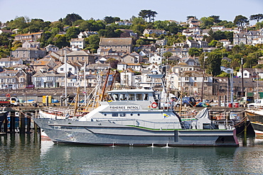 A Fisheries patrol boat in Newlyn, Cornwall, England, United Kingdom, Europe