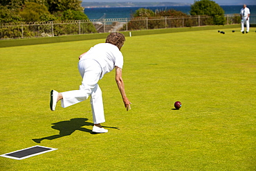 Playing bowls at Penzance in West Cornwall, England, United Kingdom, Europe