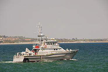 A Fisheries patrol boat off Newlyn, Cornwall, England, United Kingdom, Europe