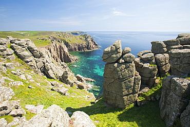 Coastal scenery at Lands End in Cornwall, England, United Kingdom, Europe