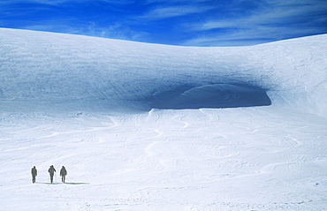 Mountaineers crossing the Cairngorm plateau in winter, Scotland, United Kingdom, Europe