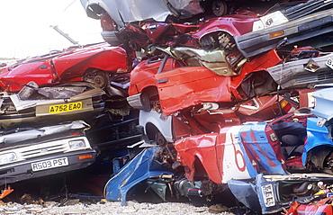 Cars at a scrap dealers in Barrow in Furness, Cumbria, England, United Kingdom, Europe