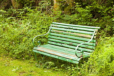A garden bench in Sprint Mill Garden, near Kendal, Cumbria, England United Kingdom, Europe