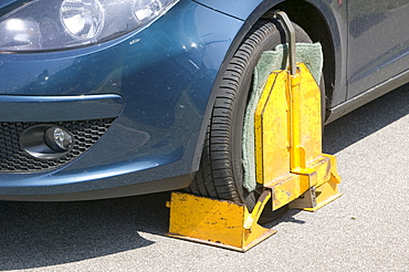 A car clamped at Newquay Airport in Cornwall, England, United Kingdom, Europe