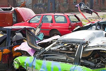 Wrecked cars in Barrow in Furness, Cumbria, England, United Kingdom, Europe