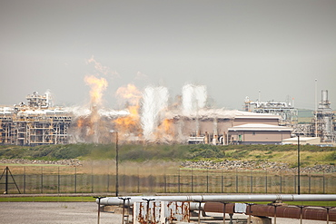 Flaring off gas at the gas processing plant at Rampside near Barrow in Furness, Cumbria, England, United Kingdom, Europe