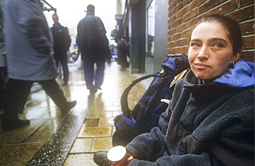 A homeless person on the streets of Leeds, Yorkshire, England, United Kingdom, Europe