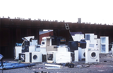 White goods at a scrap recycling plant in Oldham, Lancashire, England, United Kingdom, Europe