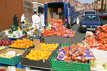 Asians selling food from the street in Blackburn, Lancashire, England, United Kingdom, Europe