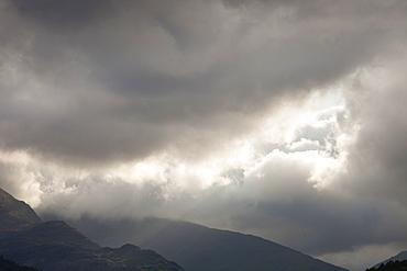 A hole in the cloud over Wrynose Pass, Lake District Cumbria, England, United Kingdom, Europe