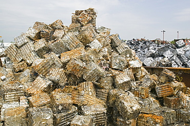 Scrap metal at a recycling plant in Blackburn, Lancashire, England, United Kingdom, Europe
