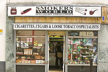 A smokers shop in Blackburn, Lancashire, England, United Kingdom, Europe