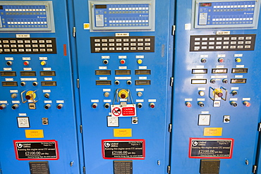 A control panels for the biogas boilers at Daveyhulme wastewater treatment plant in Manchester, England, United Kingdom, Europe