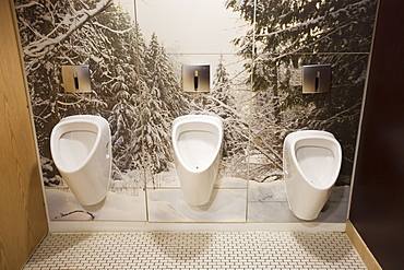 Gents urinals at the Chill Factor, an indoor skiing area in Manchester, England, United Kingdom, Europe