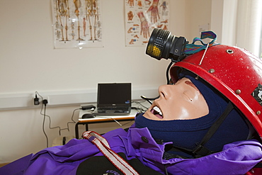 A sim man being used in a training scenario for mountain rescue volunteers, England, United Kingdom, Europe