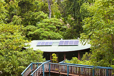 A toilet block with solar panels on the roof in the Daintree rainforest in the North of Queensland, Australia, Pacific