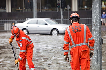 Clearing up after torrential rain in 2010 in Melbourne, Victoria, Australia, Pacific
