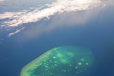 A coral atoll from the air, part of the Great Barrier Reef near Cairns, Queensland, Australia, Pacific