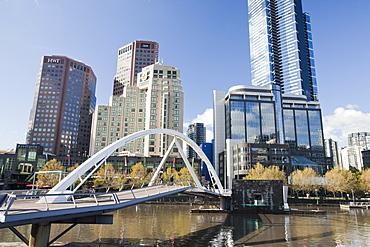 A footbridge across the Yarra River in Melbourne city centre with the Eureka Tower, Melbourne, Victoria, Australia, Pacific