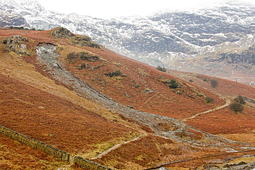 A landslide in the Copper Mines Valley caused by saturated ground during the November 2009 floods, Coniston, Lake District, Cumbria, England, United Kingdom, Europe