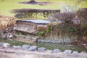 A bridge over Newlands Beck was away in the November 2009 floods, near Braithwaite, Lake District, Cumbria, England, United Kingdom, Europe