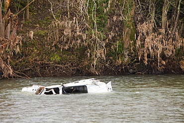 A van washed away during the November 2009 floods in the River Derwent, downstream of Cockermouth, Cumbria, England, United Kingdom, Europe