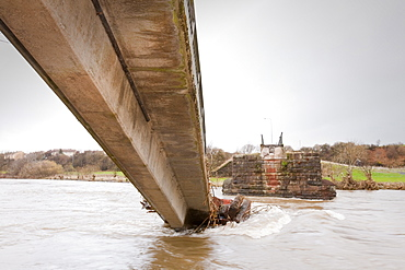 A footbridge over the River Derwent in Workington is one of many that was destroyed or damaged in the flood, Cumbria, England, United Kingdom, Europe