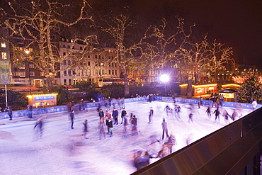 An ice skating rink outside the Natural History Museum in South Kensington, London, England, United Kingdom,  Europe