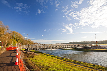 The Barker Crossing, a footbridge named after PC Bill Barker who lost his life when the town's main road bridge was destroyed in the foods in 2009, Workington, Cumbria, England, United Kingdom, Europe