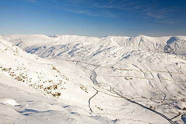 The Kentmere Fells and Kirkstone Pass in the Lake District  in winter snow from Red Screes, Cumbria, England, United Kingdom, Europe