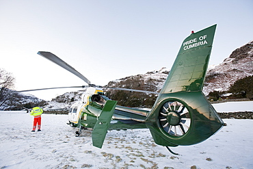 The North West Air Ambulance scrambled to evacuate an injured walker in Langdale, Lake District, Cumbria, England, United Kingdom, Europe