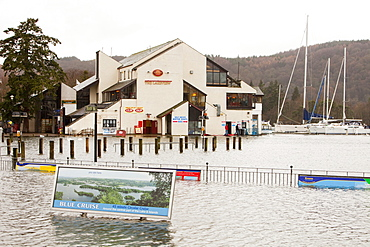 Bowness on Windermere flooded when the Lake burst its banks, Lake District, Cumbria, England, United Kingdom, europe
