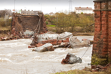The remains of Northside Bridge in Workington which was swept away in the floods killing PC Bill Barker who was trying to stop traffic from going onto the bridge when it collapsed, Cumbria, England, United Kingdom, Europe
