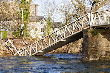 A footbridge in Cockermouth, one of many destroyed or damaged in the floods, Cumbria, England, United Kingdom, Europe
