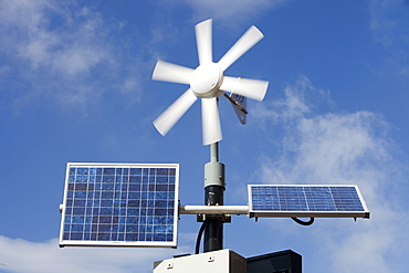 Renewable energy generation being used to power illuminated speed limit signs in Barrow in Furness, Cumbria, England, United Kingdom, Europe