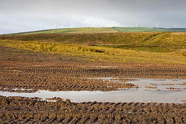 Hagshaw Hill wind farm above an abandoned open cast coal mine in Douglas, Lanarkshire, Scotland, United Kingdom, Europe
