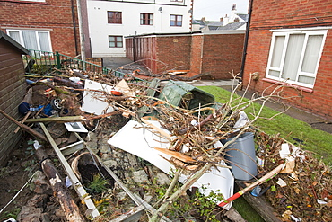 Flood debris near Cockermouth's Main street, after the water receded, Cumbria, England, United Kingdom, Europe