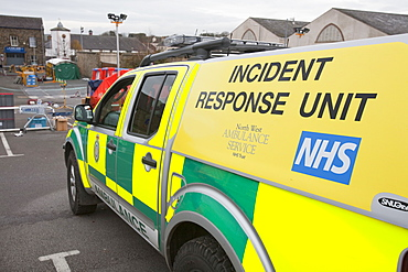 NHS incident sresponse vehicles in Cockermouth, Cumbria, England, United Kingdom, Europe