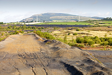 Spoil left by open cast coal mining at the abandoned Westfield mine in Perth and Kinross, Scotland, United Kingdom, Europe