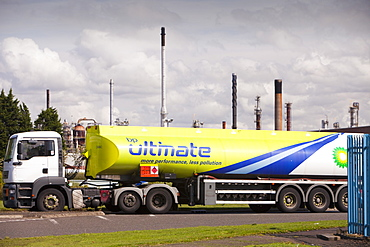 Petrol tankers at the Ineos oil refinery in Grangemouth, Scotland, United Kingdom, Europe