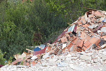 Building waste illegally fly tipped in Teos, Western Turkey, Eurasia