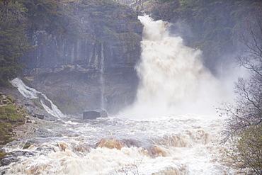 The River Doe in full flood above Ingleton in Lancashire, England, United Kingdom, Europe