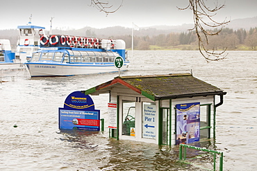 Lake Windermere in Ambleside and flooded buildings after the lake reached its highest ever recorded level, Lake District, Cumbria, England, United Kingdom, Europe