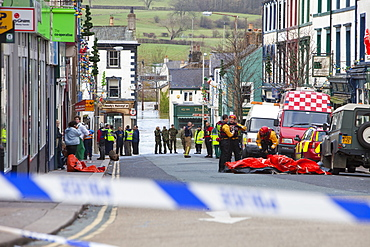 The emergency services working in Cockermouth to rescue flood victims, Cumbria, England, United Kingdom, Europe