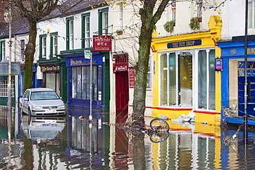 Flooded car on Cockermouth's Main Street, Cumbria, England, United Kingdom, Europe