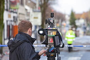 A BBC film crew on the Main Street of Cockermouth, Cumbria, England, United Kingdom, Europe