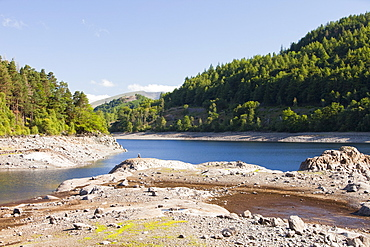 Thirlmere reservoir with a hosepipe ban in effect in the North West, Lake District, Cumbria, England, United Kingdom, Europe