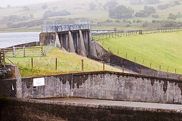 Coedty dam which supplies the water to power Dolgarrog Hydro electric power station, North Wales, United Kingdom, Europe